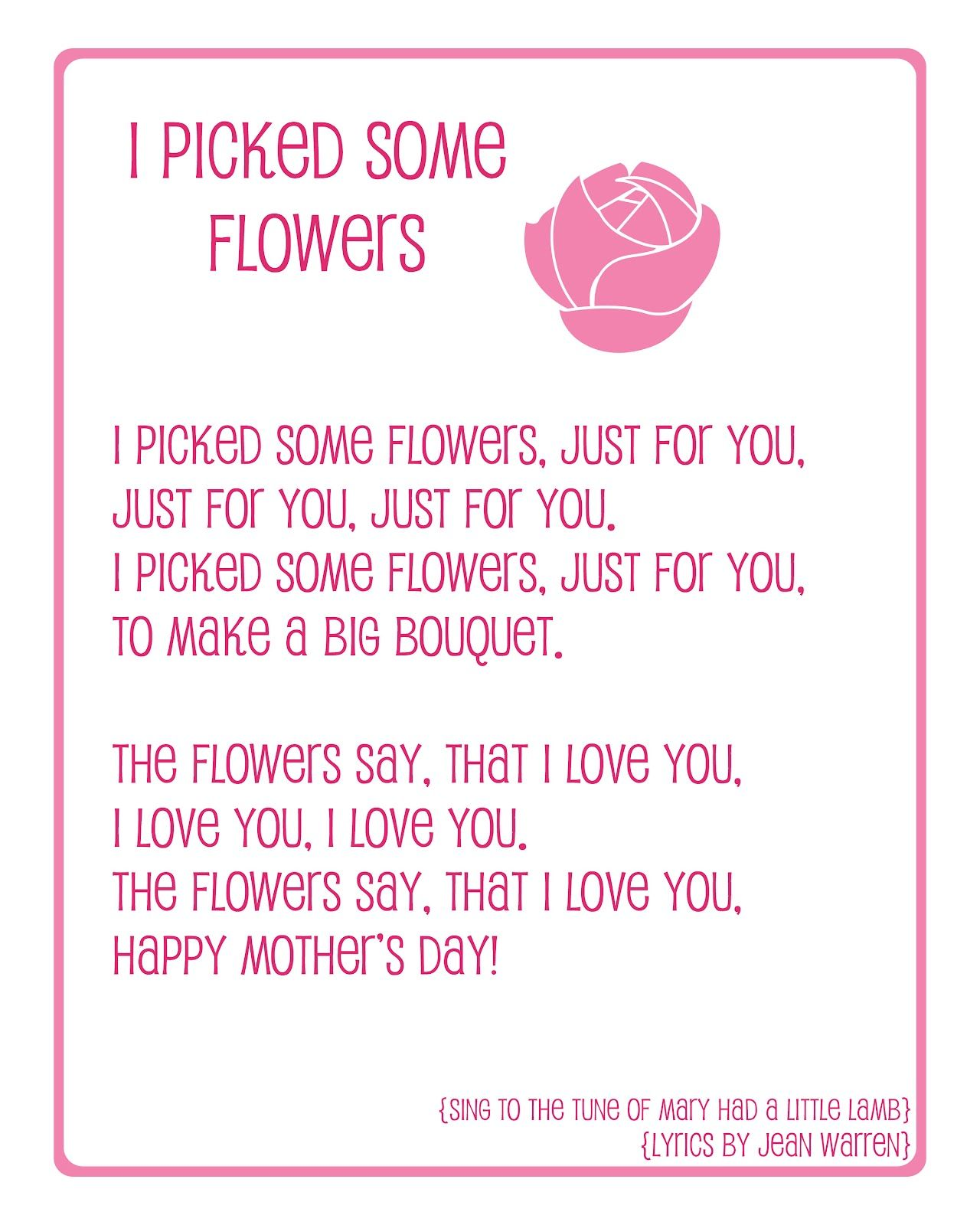 Naptime Delights Mother S Day Preschool Song Printable
