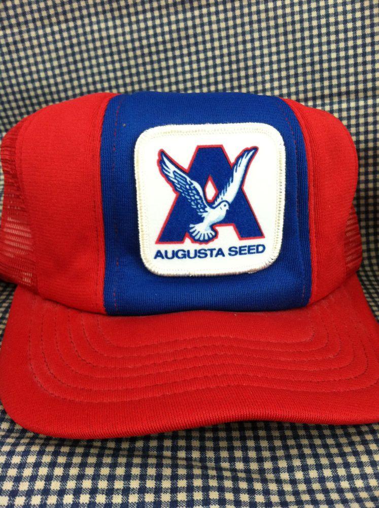 Augusta Seed Red Nylon Mesh VTG Trucker Baseball Snapback Hat Cap Made in USA #Unbranded #Trucker