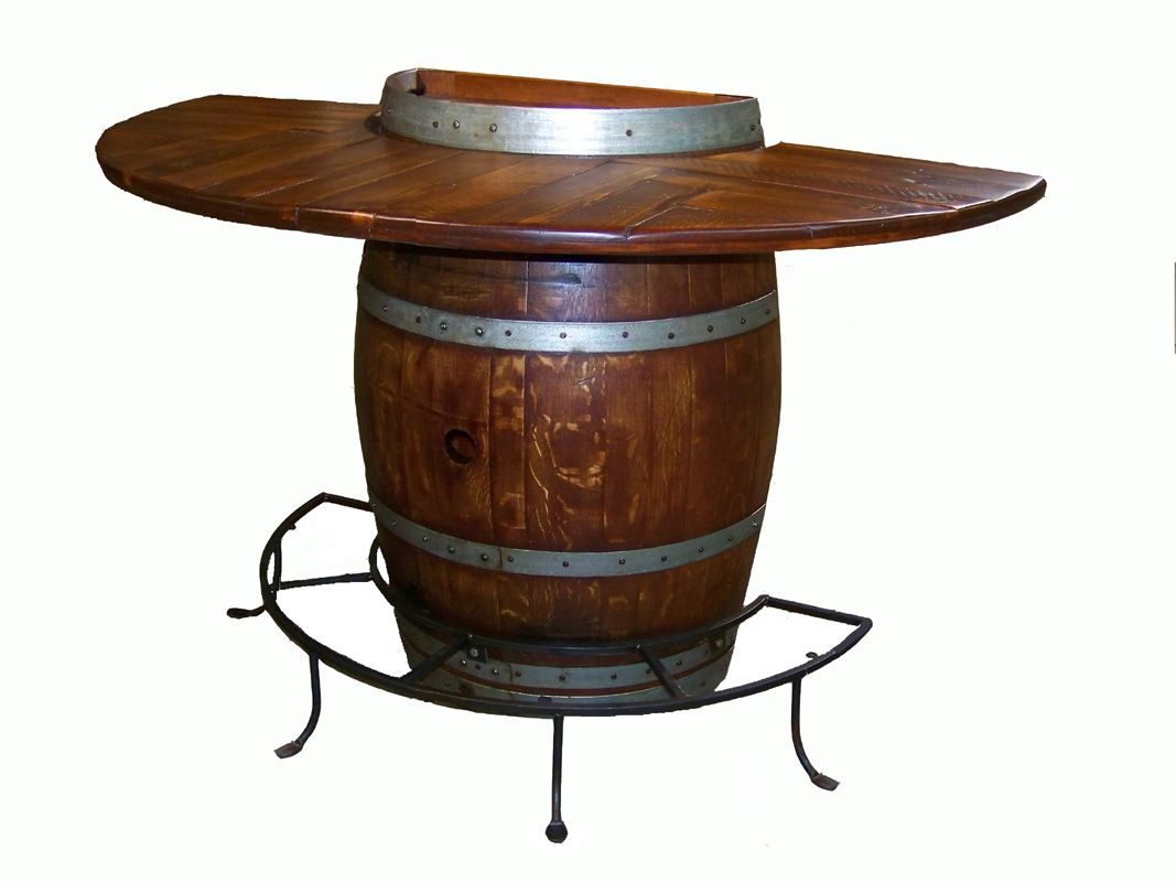 Half Barrel Bar Table Made From Reclaimed Wood And Recycled Wine Barrels Cool Unique Please Call Coope Wine Barrel Table Barrel Table Wine Barrel Furniture