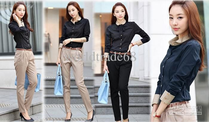cf41f622fed Korean Business attire Women Shirts slim Long sleeve color matching lady s  shirt