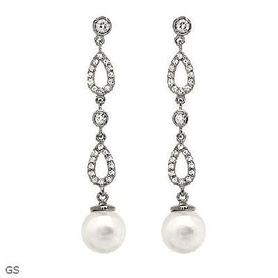 Cubic Zirconia and Faux Pearls 925 Sterling Silver