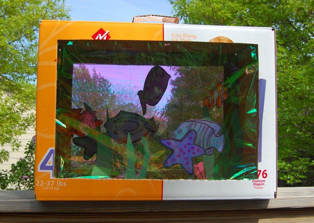 How To Make Shoebox Paper Aquarium Crafts Projects Shoe