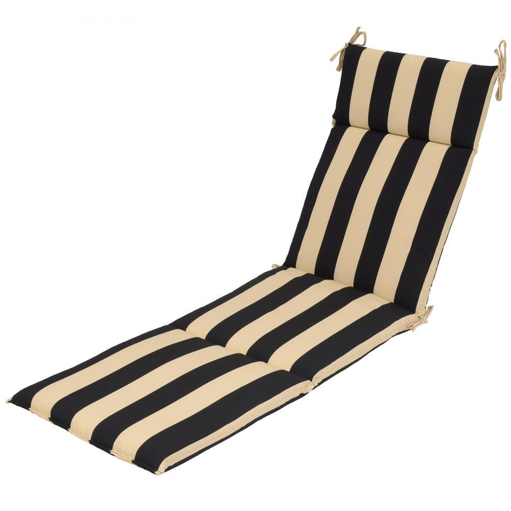 Black Cabana Stripe Outdoor Chaise Lounge Cushion 7407 01242700