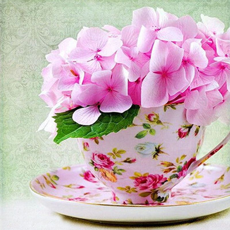 fashion diy round diamond painting russian cup pink flowers picture