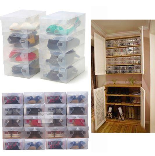 10X Transparent Clear Plastic Shoe Boxes Shelf Stackable Foldable