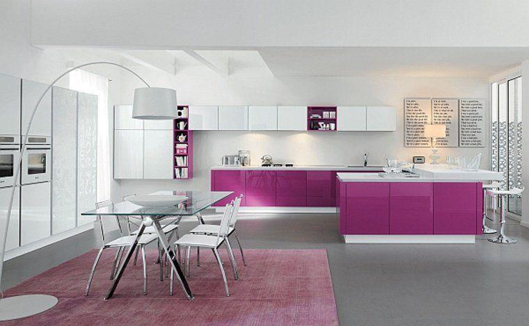 cuisine aménagement couleur meuble idée tapis de sol salle à manger