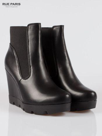 Czarne Botki Na Koturnie Z Traktorowa Podeszwa Shoes Boots Rain Boots
