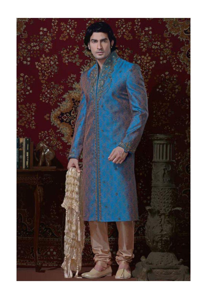 Buy Blue Brocade Readymade Sherwani online, work: Embroidered, color: Blue, usage: Groom, category: Mens Wear, fabric: Brocade, price: $301.70, item code: MCD1464, gender: women, brand: Utsav
