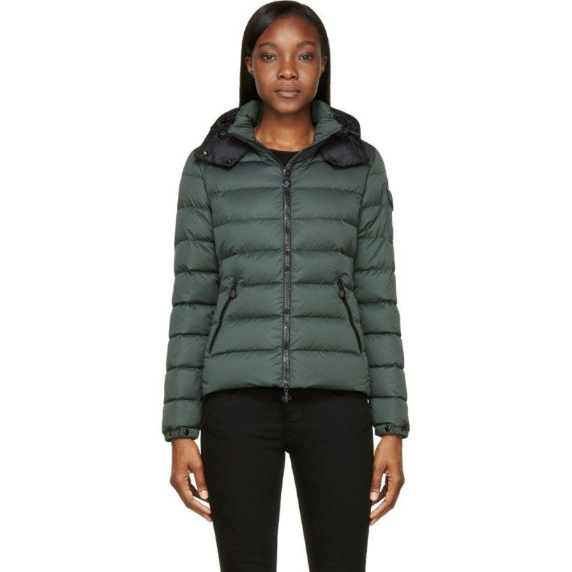 Moncler Green Matte Nylon Quilted Bady Jacket