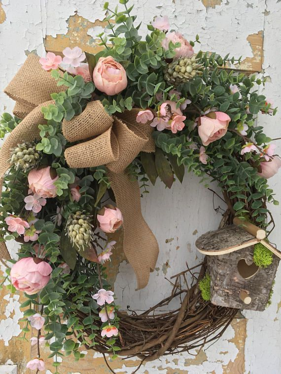 Spring wreath summer wreath rustic spring wreath with birdhouse spring wreath etsy wreath rustic spring wreath with birdhouse easter wreath housewarming gift summer wreath his wreath is perfect to welcome your negle Images