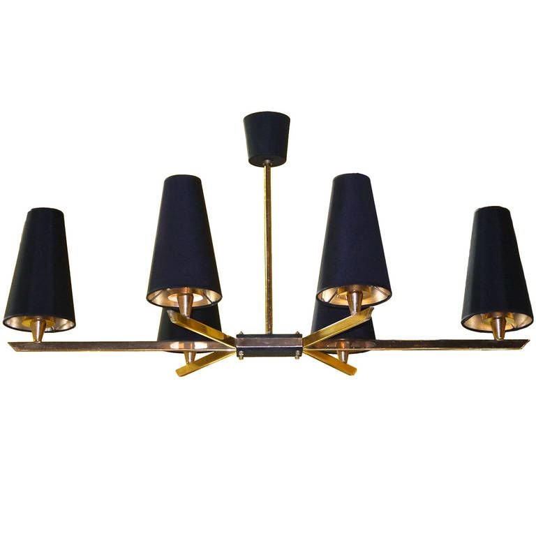 French 1950's Linear Six Light Brass Chandelier  From a unique collection of antique ...