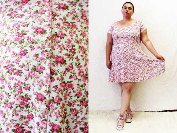 Plus Size - Vintage Pink Floral Knit Button Front Baby Doll Dress ...