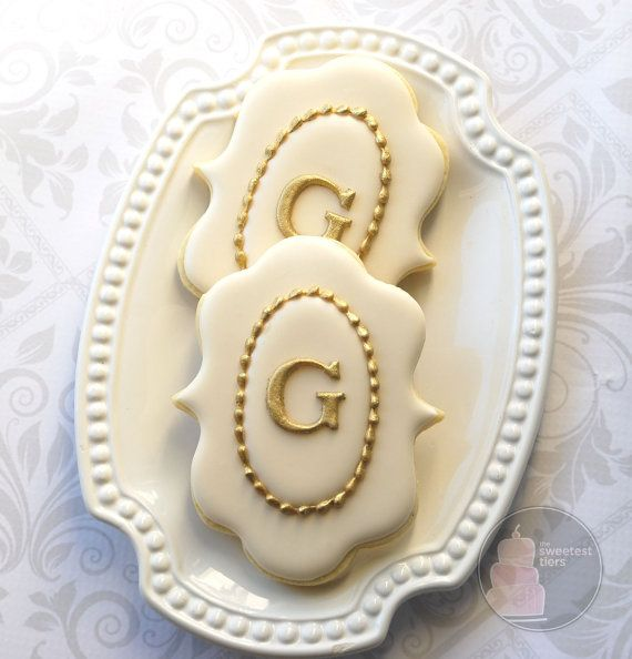 ivory and gold fancy plaque monogram cookies   54  ships