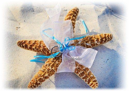 Beach Wedding Starfish Ring Holder Pillow Custom colors Ring