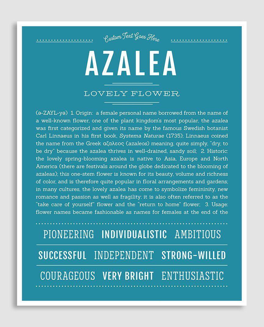 Azalea Name Art Print Names Names With Meaning Classic Names