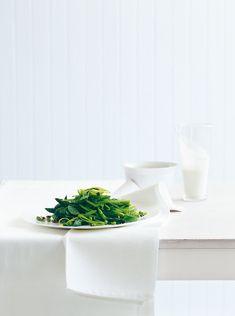 green vegetable salad with lemon crème fraîche dressing