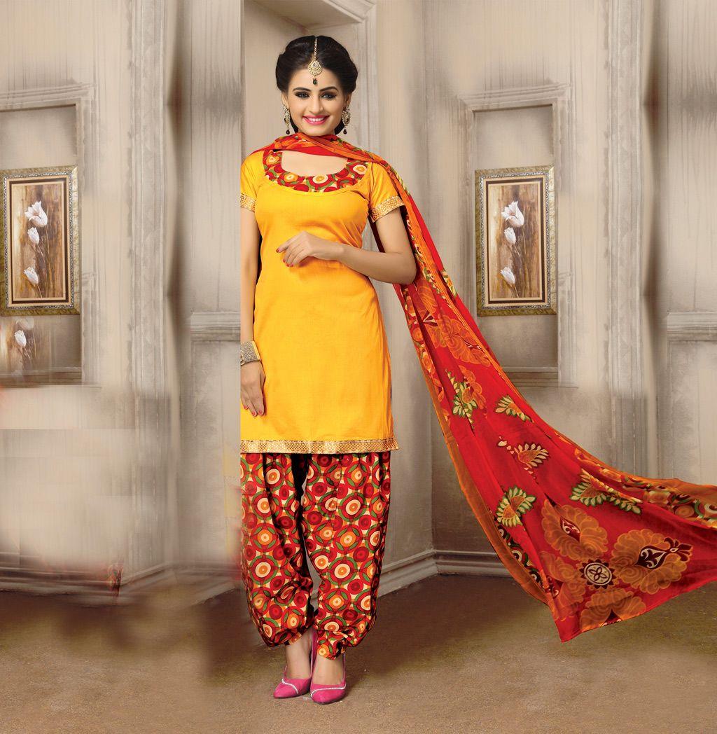 Yellow Cotton Punjabi Suit 59543