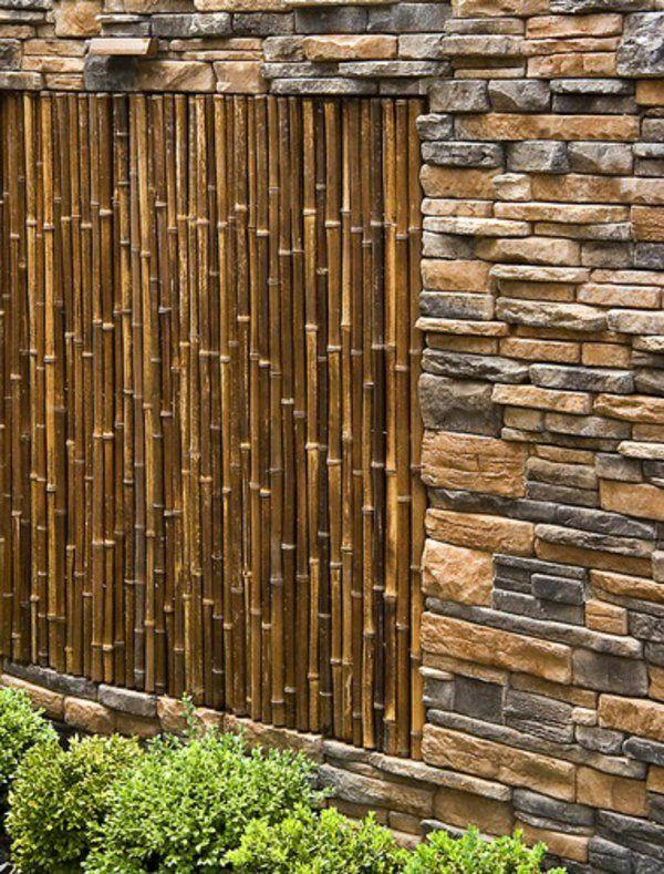 moderne gartenzäune gestalten dekorative steine bambus wand ... - Wand Gestalten Mit Steinen