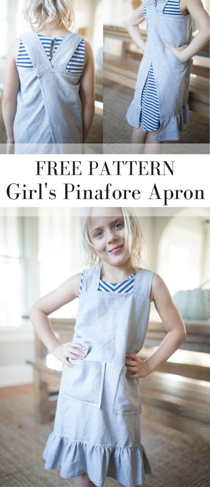 DIY Pinafore Apron for Girls Free Pattern | Crafts | Pinterest ...