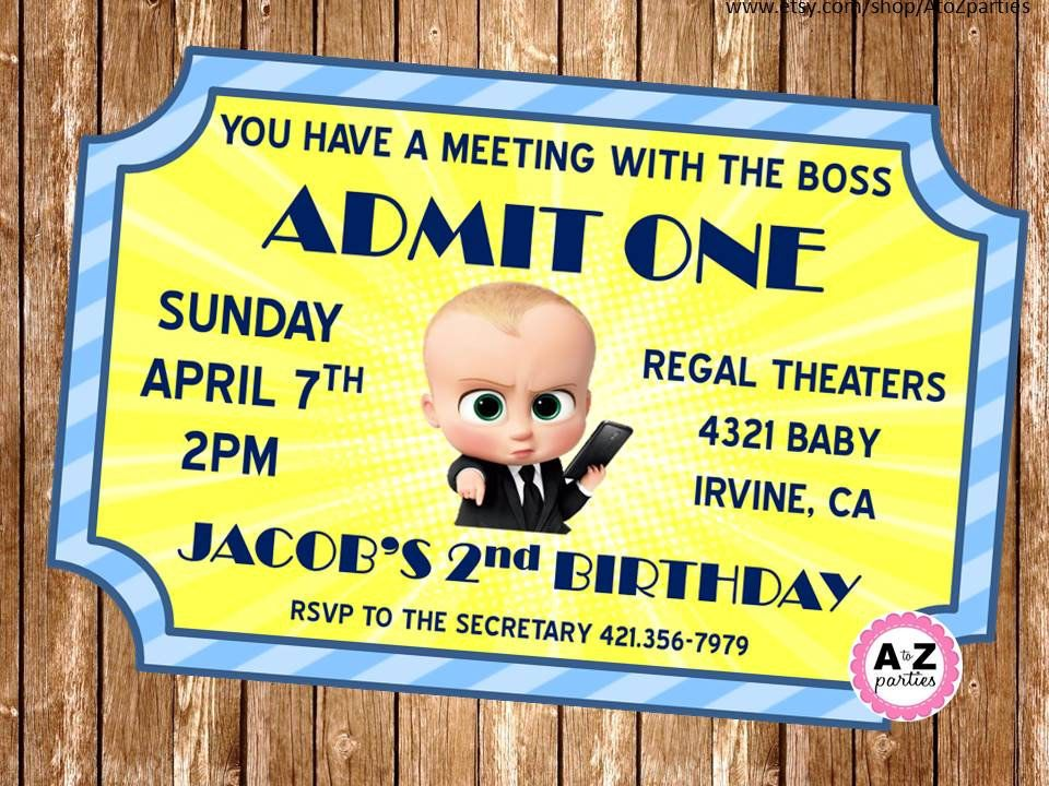 Boss Baby Personalized Invitation Movie Ticket Design Printable Diy Double Sided Personalized Baby Birthday Invitations Baby Birthday Themes Baby Birthday