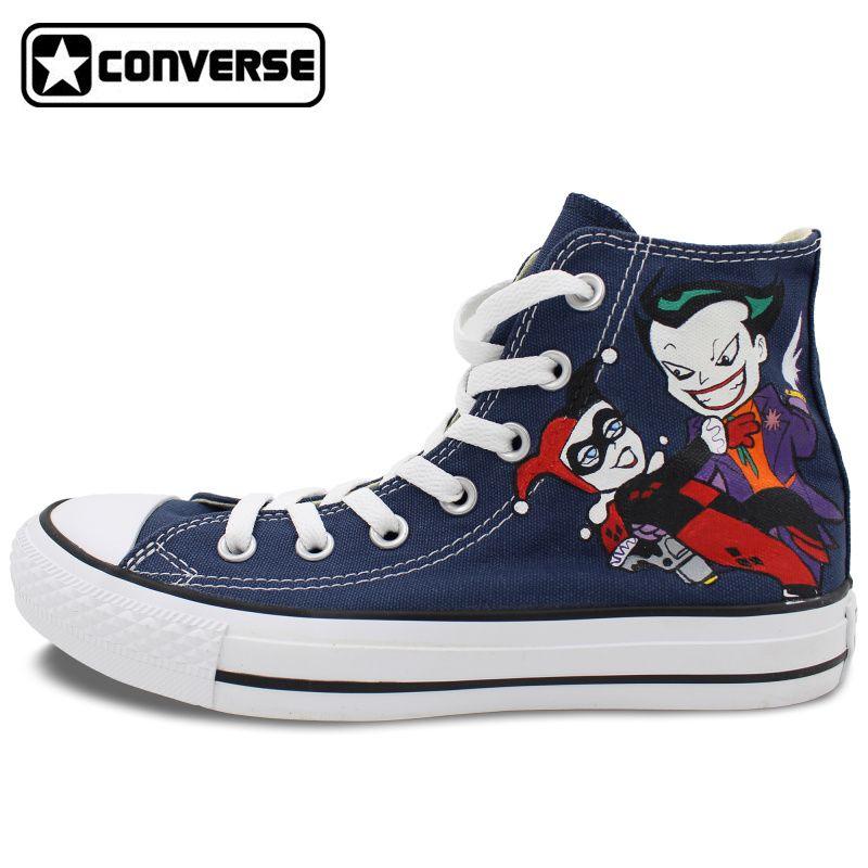 Joker Harley Quinn Design Custom Hand Painted Shoes Women Men Blue Converse  Shoes All Star High Top Sneakers Skateboarding Shoes  Affiliate 7efd6a59a