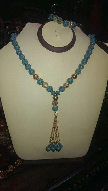 عقد فيروز Beaded Necklace Statement Necklace Necklace