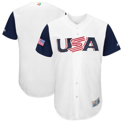 Men's Team USA Baseball Majestic #24 Andrew Miller White 2017 World Baseball Classic Stitched Authentic Jersey
