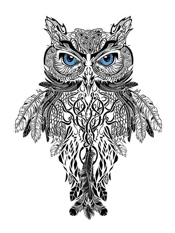 Chouette Dessin Stylisé dessin hiboux stylisé trop beau ( détaillé) | tattoos | pinterest