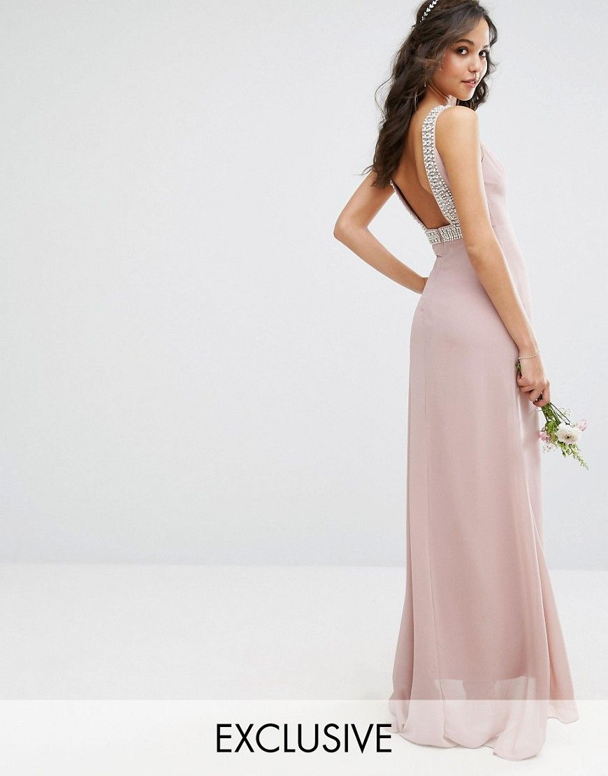 20eaccd2c295c Tfnc Petite Wrap Front Maxi Bridesmaid Dress With Embellished Shoulder