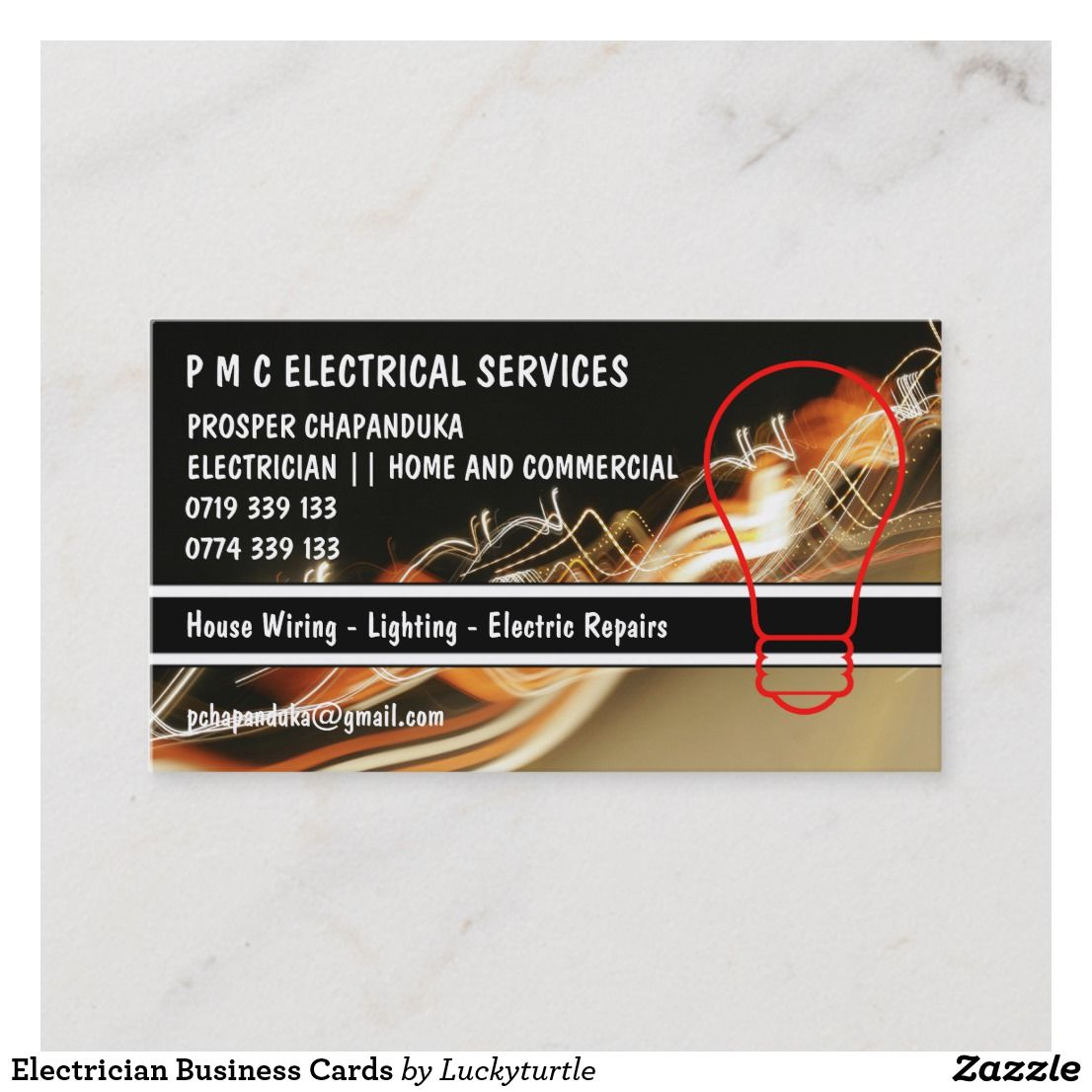 Electrician Business Cards Zazzle Com In 2020 Lawn Care Business Cards Personal Business Cards Electrician