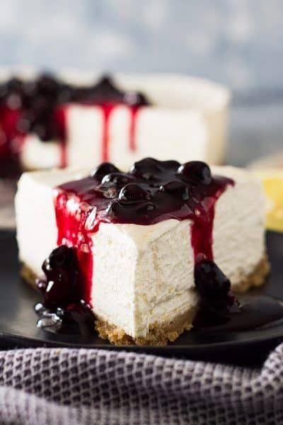 No Bake Lemon Blueberry Cheesecake | Countryside Cravings