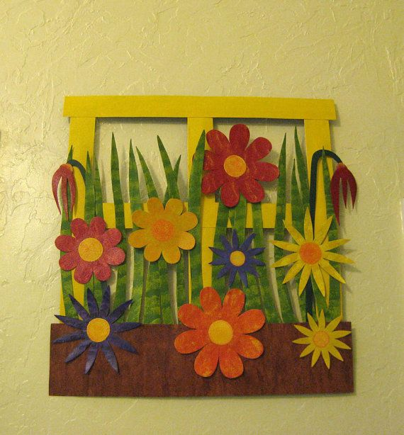 Flower wall art metal sculpture kitchen wall decor - Window Box ...