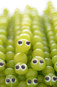 Ok, these are just   too cute not to try!     Grape Caterpillar Skewers       Supplies   Grapes   Bamboo Skewers   White Frosting   Mini C...