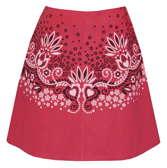 a30c478ce941 bandana print skirt - raspberry red - hand screen print inspired by classic  western bandanas