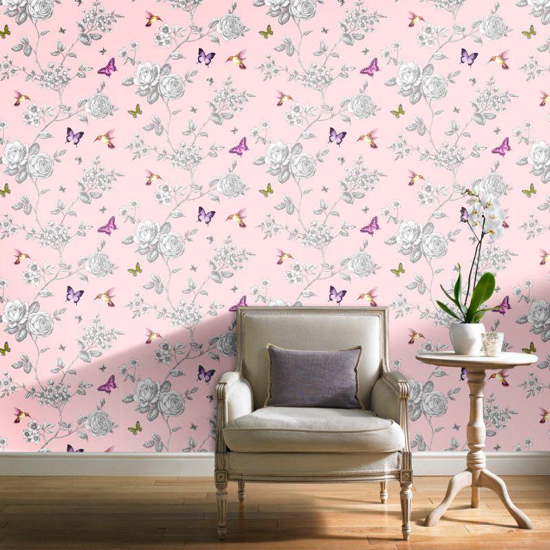 Grandeco Rose Garden Bird and Butterfly Wallpaper Pink
