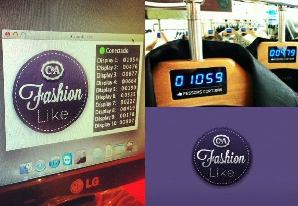 C introduces offline fashion likes in Brasil.   In short: they post pictures on facebook and show the amount of likes in the hanger.