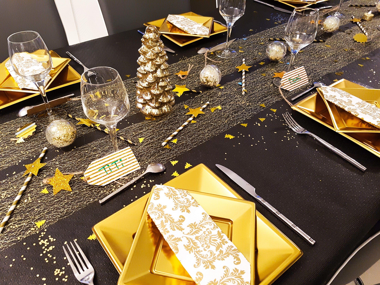 Déco de table Noël noir or Idée déco fêtes black gold