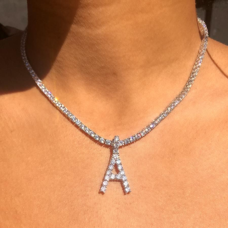 39++ Diamond letter necklace silver trends