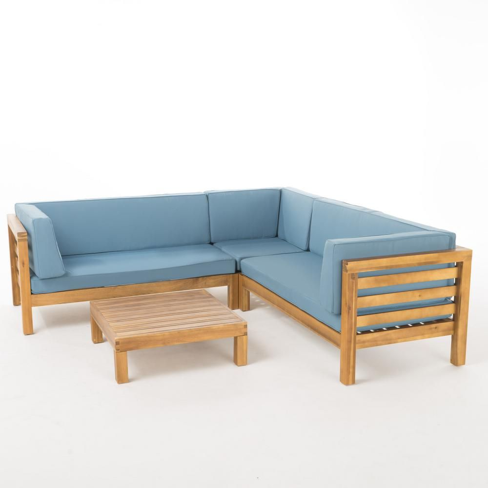 Noble House Oana Teak Finish 4 Piece Wood Outdoor Sectional Set With Blue Cushions 55318 Furniture Design Living Room Furniture Blue Cushions