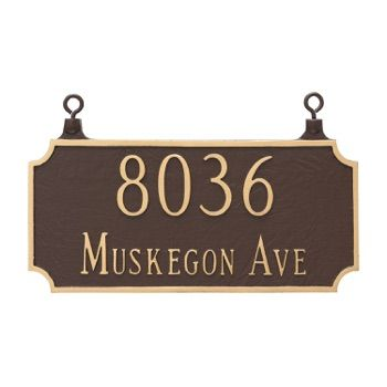 Two Sided Princeton Address Plaque Hanging Montague Metal