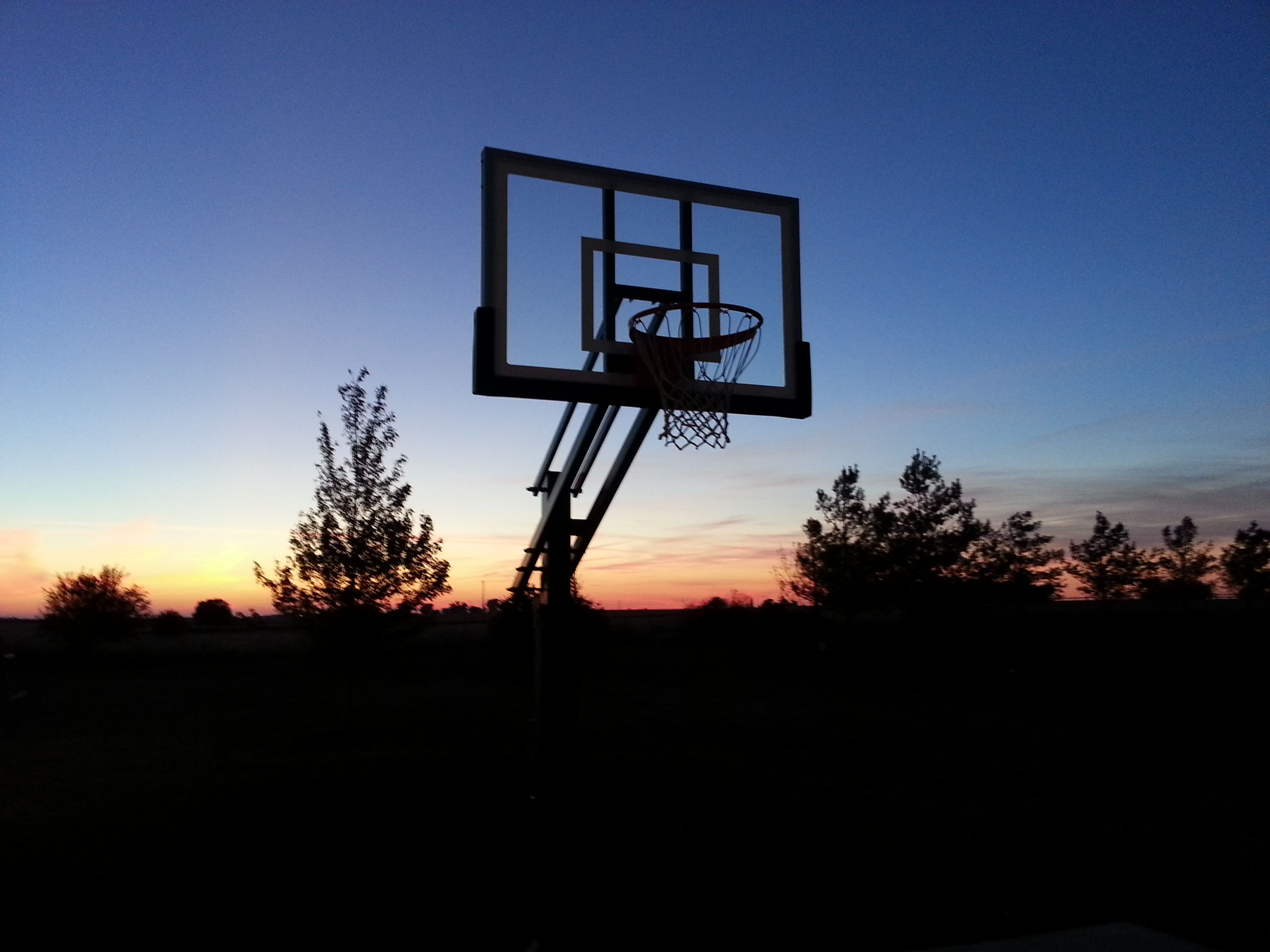 a beautiful sunrise adorns the backdrop of this pro dunk silver