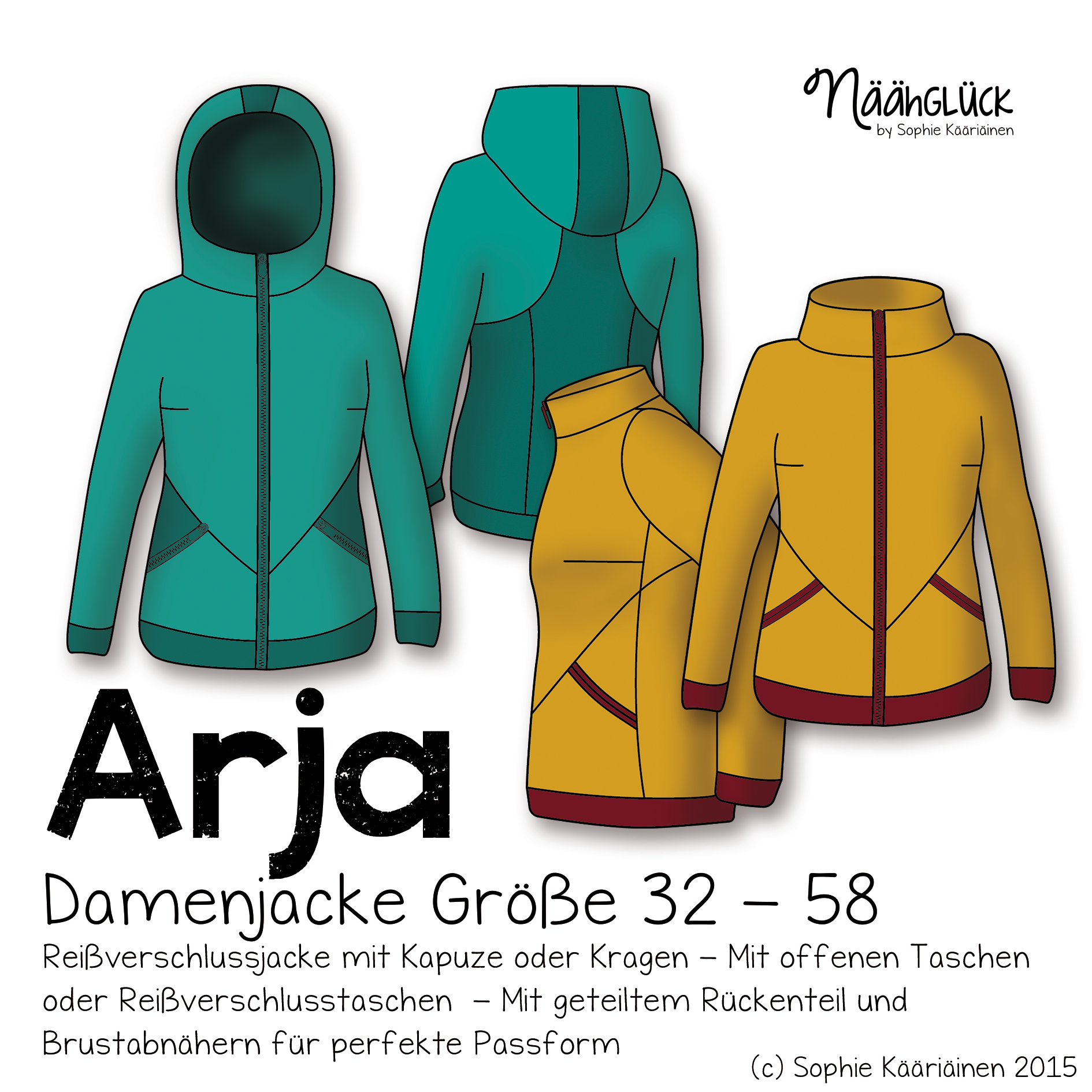eBook Arja Damenjacke Größe 32 58   Schnittmuster jacke