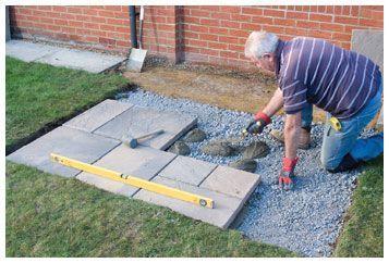 laying patio laying paving slabs