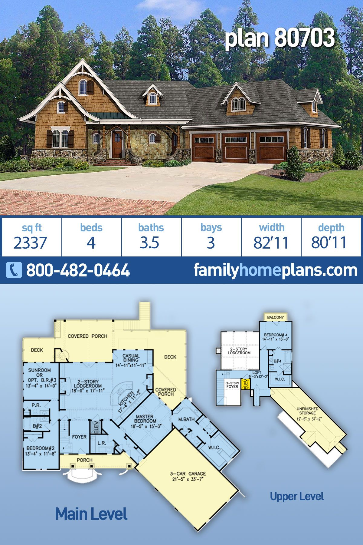 Craftsman Style House Plan 80703 With 4 Bed 4 Bath 3 Car Garage Craftsman Style House Plans Lake House Plans Flat Roof House Designs