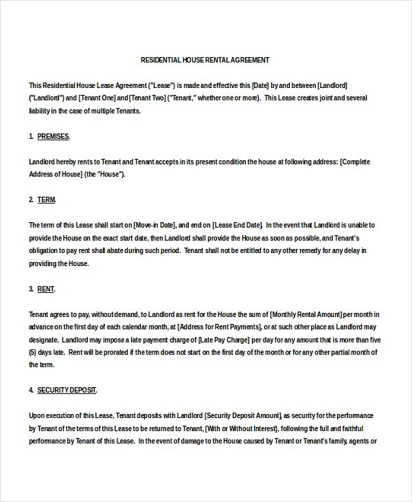 sample house rental agreement template 18 house rental agreement