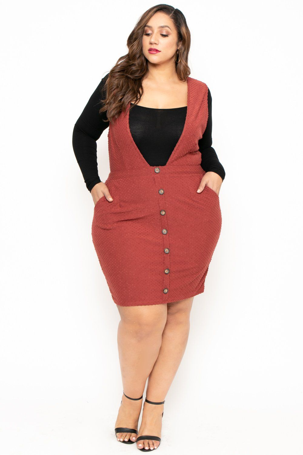 Plus Size Pinafore Clip Dot Dress - Rust in 2019 | If I had ...