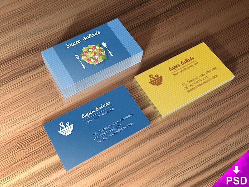 Super salads business cards mockup mock ups photoshop psd super salads business cards mockup wajeb Image collections