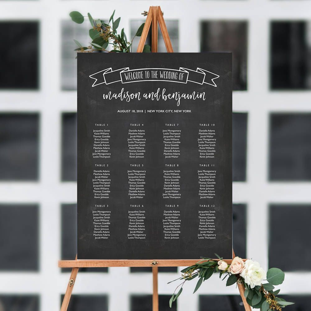 6 Sizes Chalkboard Banner Seating Chart Template Editable