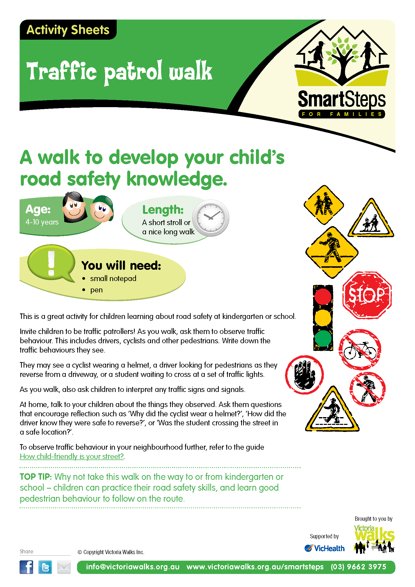 Walking activity Traffic Patrol (help children learn the
