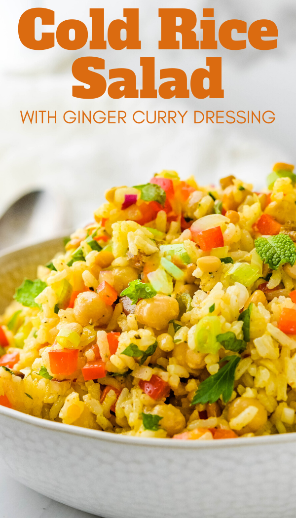 This Quick And Easy Cold Rice Salad With Homemade Ginger Curry Dressing Is A Simple Healthy Side Dish Curried Rice Salad Easy Salad Recipes Rice Salad Recipes